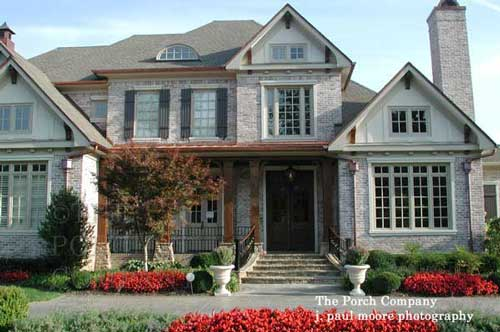 Combination Wood And Stone Front Porch