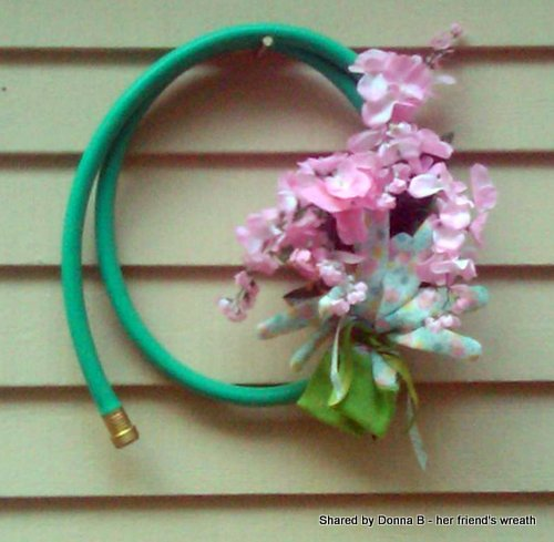 Another version of a garden hose wreath shared by one of our readers