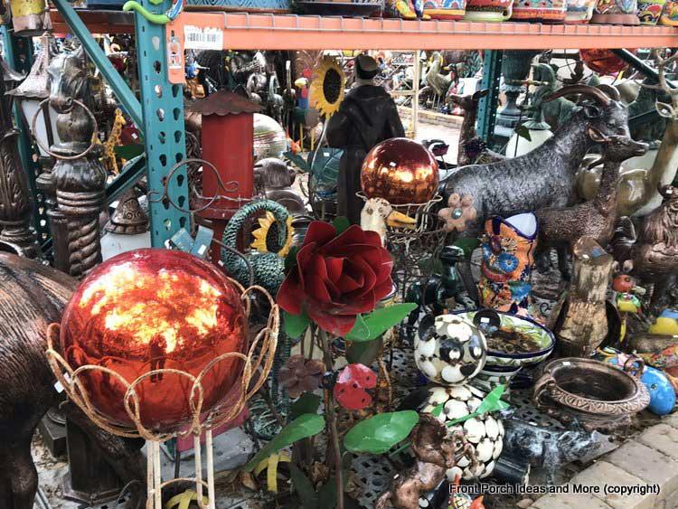 Yard Art Emporium - shiny orange gazing-balls