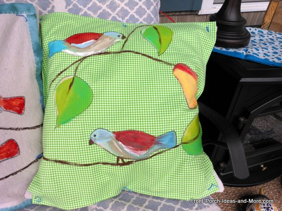 Our spring pillow topper - sweet birds - painted on green checked fabric
