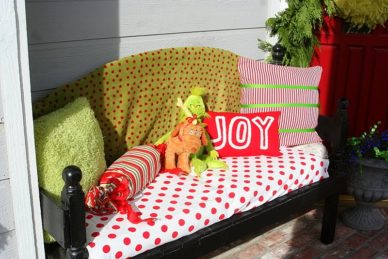 Bench with Grinch Christmas colors