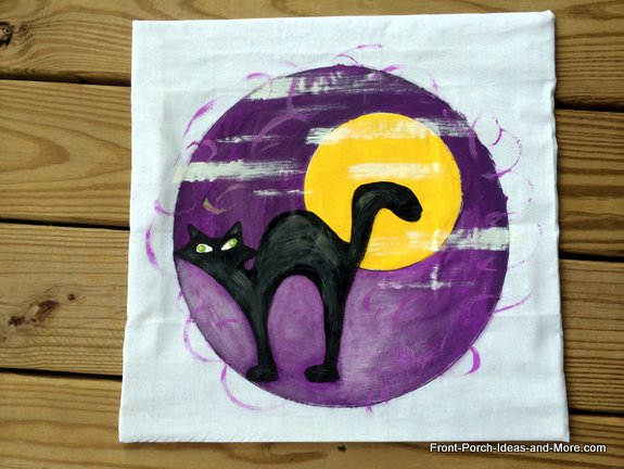 The black cat pillow topper is done.