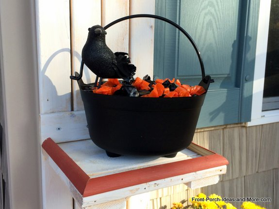 Halloween porch candy holder - close up of candy bowl