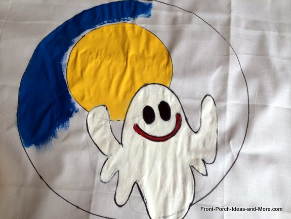 ghost pillow topper with some of the painting done