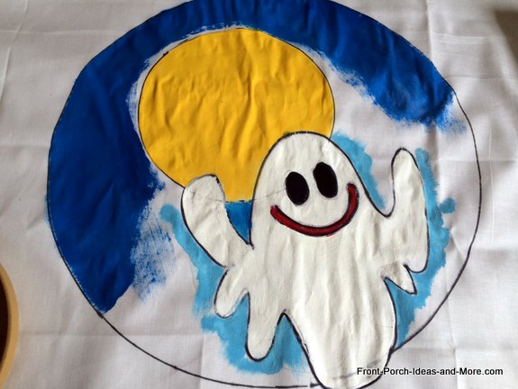 ghost pillow topper almost done