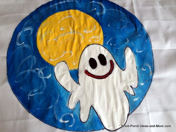 finished Halloween ghost pillow topper