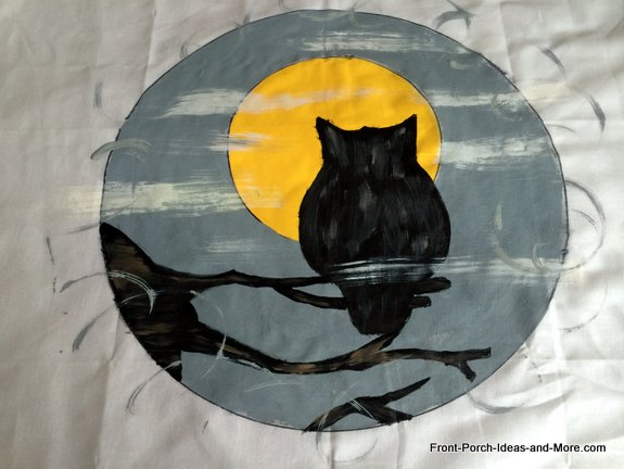 Completed Halloween owl pillow topper - cute!