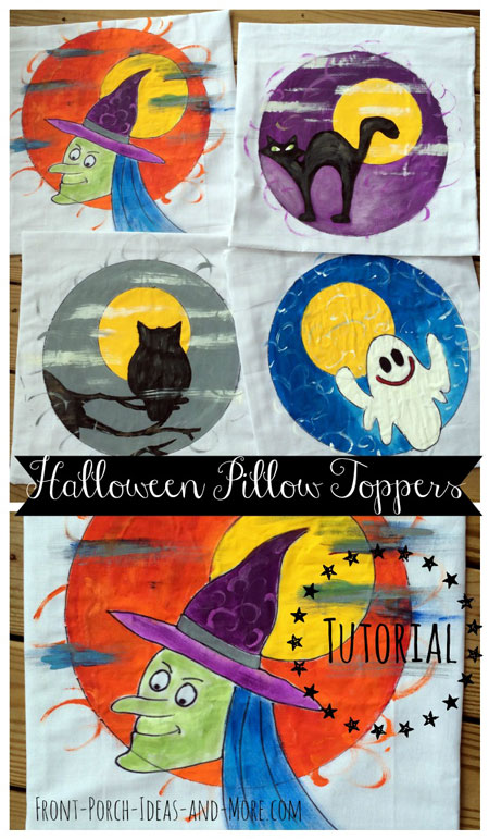 Our Halloween pillow toppers - ghost, witch, owl and black cat