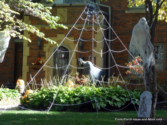 A spider web on the front porch for Hallowen
