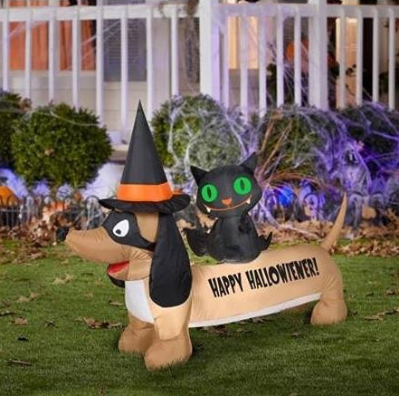 Inflatable dachshund and black cat for Halloween