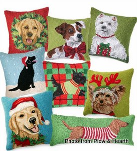 Hand hooked holiday dog pillows from Plow and Hearth