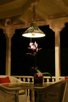 Hanging porch light over bistro table