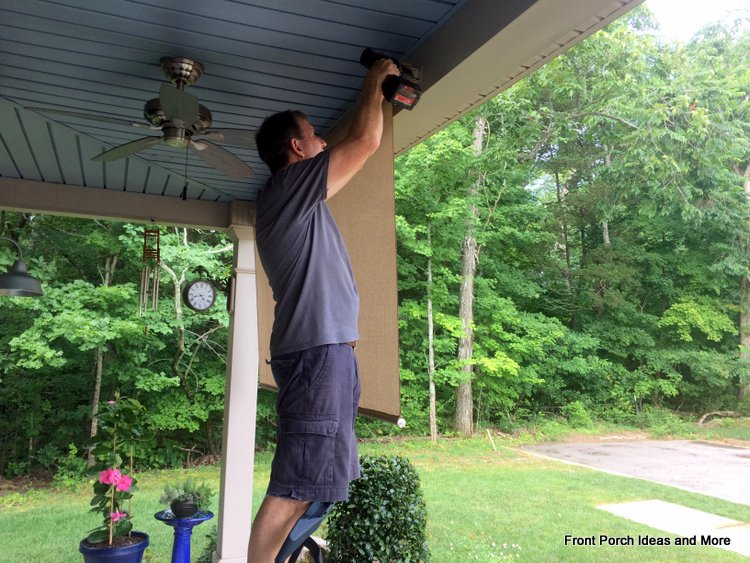tighten porch shade assemblies into holders