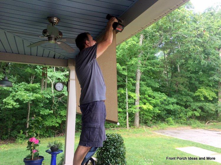 tighten porch shade assemblies into holders