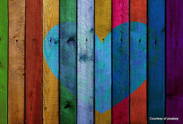 heart painted on wood