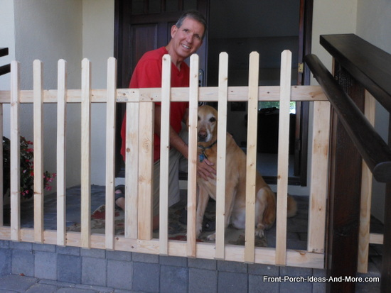 porch gate is almost done - cisco loves it
