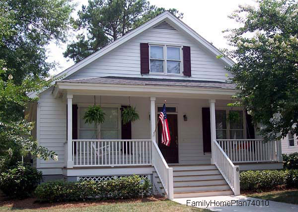 craftsman-style home from floor plan 74010 by Family Home Plans