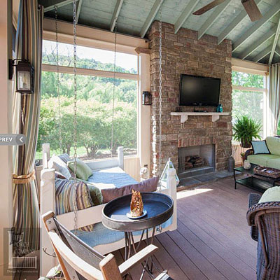 amazing interior of custom designed and built screened porch