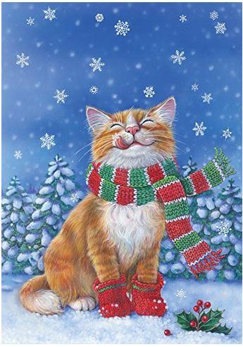 Kitten mittens winter flag