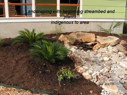 landscaping and streambed closeup