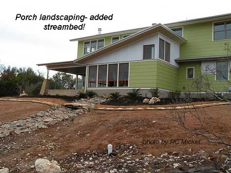 landscaping and stream bed added