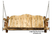lodge pole pine porch swing at Amazon