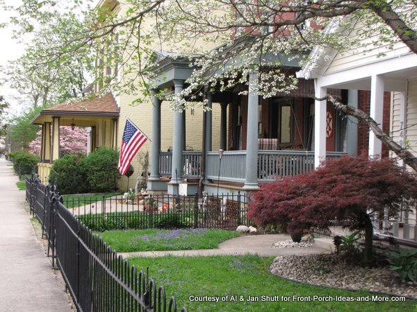 front porches along street in Madison Indiana