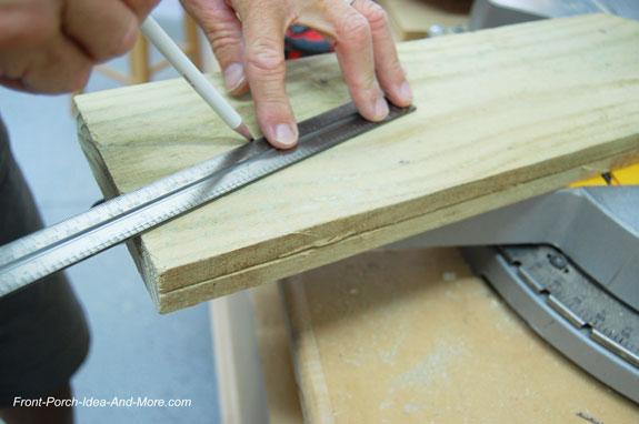 marking board to cut a triangle