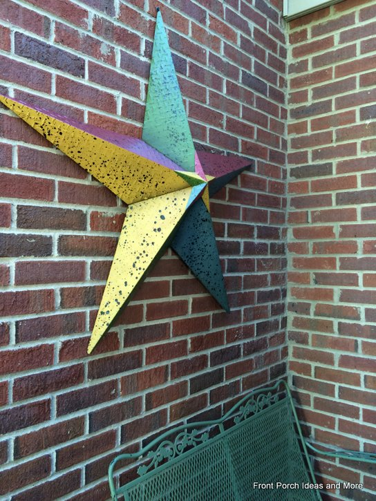 decorative star on porch
