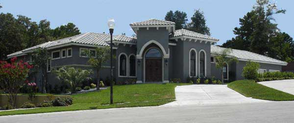 Long lean lines with small portico-Plan 40111