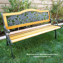 Metal porch bench with floral design backrest