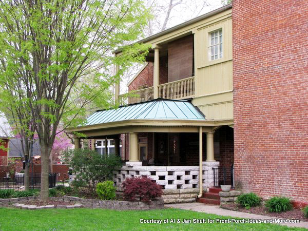 green metal porch roof on home in madison indiana