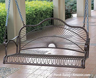 decorative metal porch swing from amazon