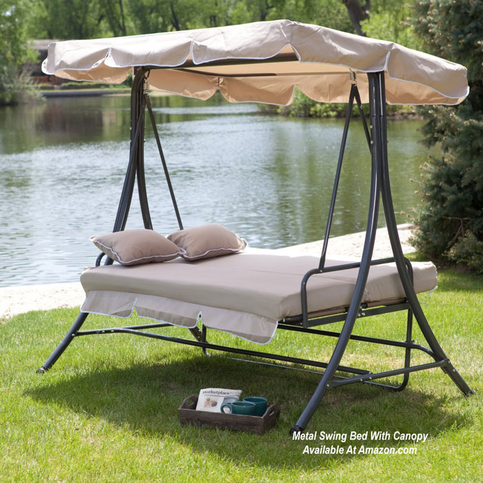 Metal porch swing bed seats three