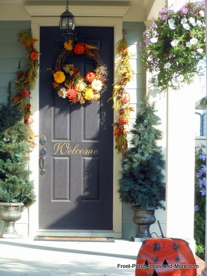 natural fall wreath on beautiful front door