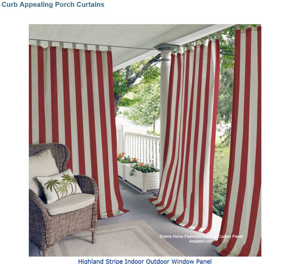 red striped outdoor porch curtains