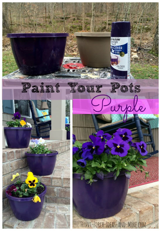We spray painted four pots with purple paint