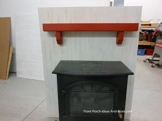 painted beadboard fireplace chase and mantel