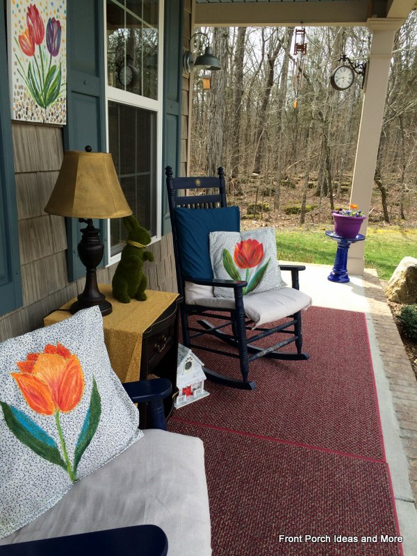 Our springtime porch decorated with a tulip theme