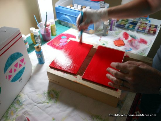 painting Christmas cards red