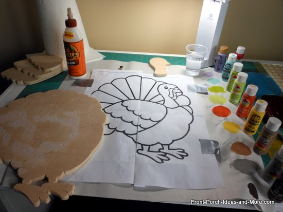 paints selected for thanksgiving turkey project