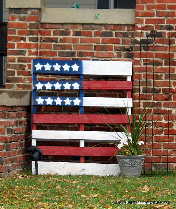 an old pallet decorated as an American flag