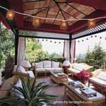 hanging party lights over covered patio