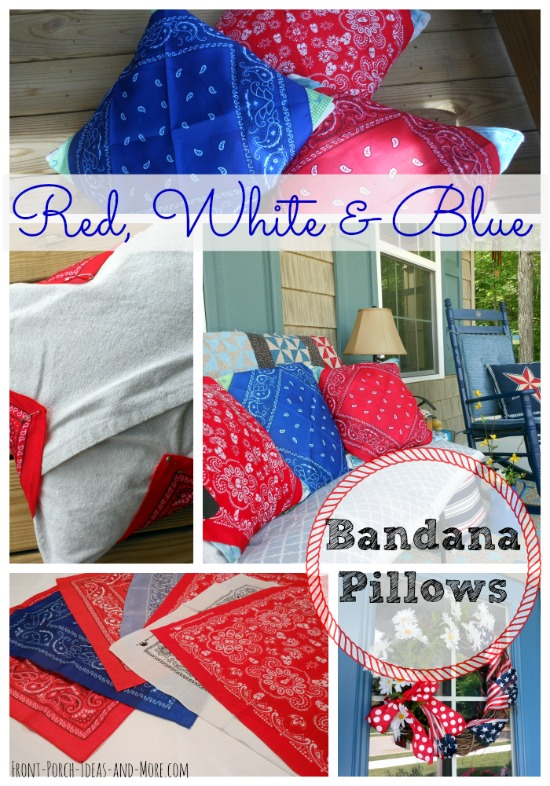 collage of pictures for making bandana pillows
