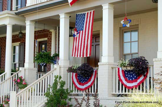 patriotic front porch adorned with buntings