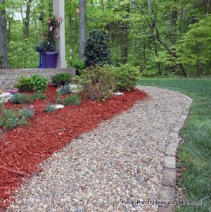 pea gravel walkway in front of landscaping