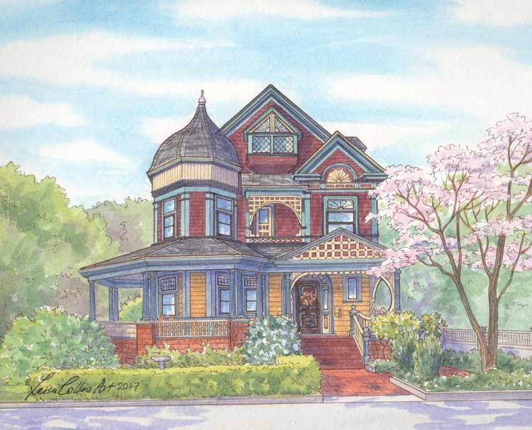 Beautiful watercolor portrait of Victorian home