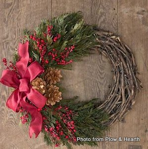 Beautiful pine cone berry wreath from Plow and Hearth