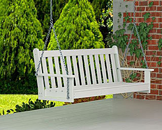 Stunning white polywood porch swing from amazon