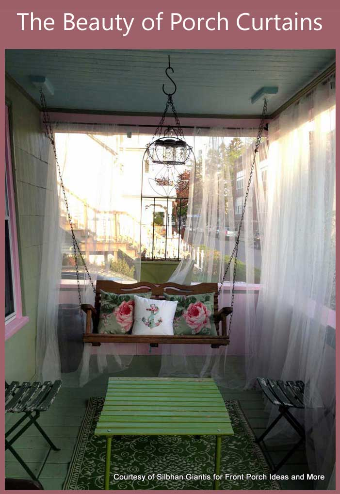 Wispy outdoor porch curtains blowing in the breeze!  Porch curtains provide ambiance as well as privacy - and these sure do! Lovely porch swing, too.  Front Porch Ideas and More
